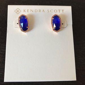 NWOT Kendra Scott Ellie Stud Rose Gold In Cobalt